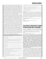 Long-distance teleportation of qubits at telecommunication ...