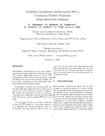 Analyzing laser-plasma interferograms with a Continuous ... - ILIL