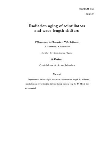 Radiation aging of scintillators and wave length shifters