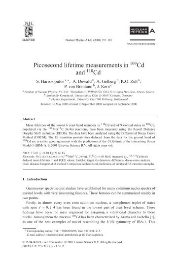 Picosecond lifetime measurements in 109Cd and 110Cd