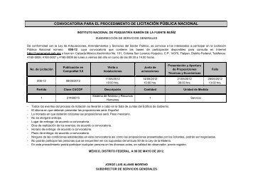 convocatoria para el procedimiento de licitación pública nacional