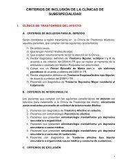 criterios de inclusión de la clínicas de subespecialidad - Instituto ...
