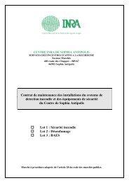 Contrat de maintenance des installations du systeme de ... - Inra