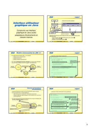 Interface utilisateur graphique en Java Interface utilisateur ...