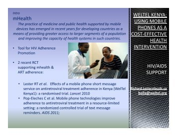 WELTEL KENYA: USING MOBILE mHealth PHONES AS A ... - INRUD