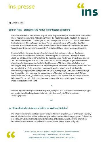 INS Presse 24.10.13 - Institut für niederdeutsche Sprache e.V.