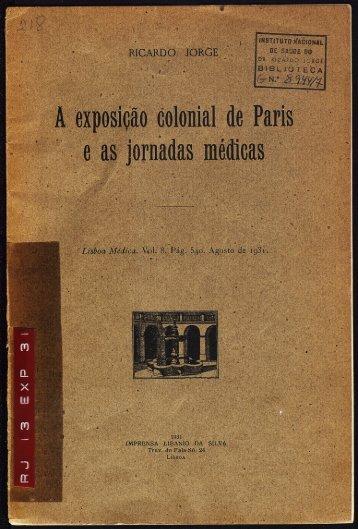A Exposição Colonial de Paris e as jornadas médicas