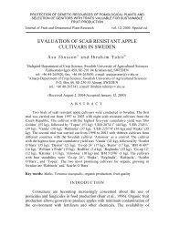 Evaluation of scab resistant apple cultivars in Sweden