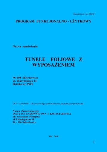 Załącznik nr 1 - Instytut Sadownictwa i Kwiaciarstwa w Skierniewicach