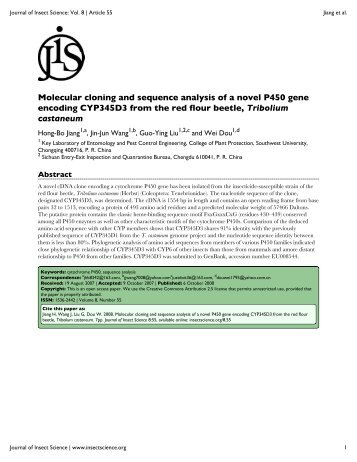 Molecular cloning and sequence analysis of a novel P450 gene ...
