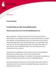 Frontberichte aus dem Gesundheitsmarkt - DocCheck AG