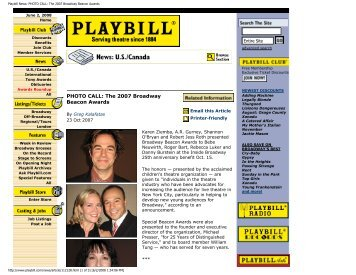 Playbill News: PHOTO CALL: The 2007 ... - Inside Broadway