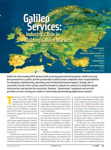 Galileo services: Galileo services: