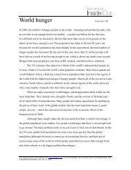 World hunger WORKSHEET A - Inside Out