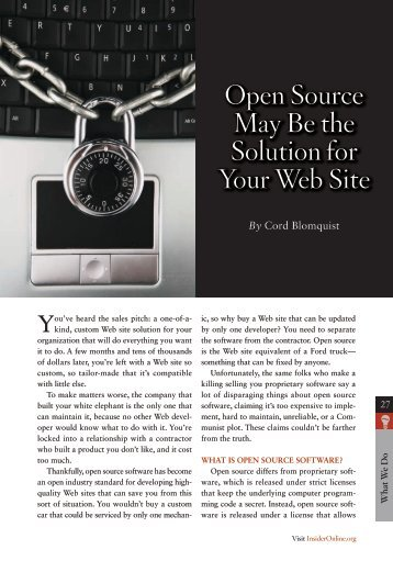 open source May Be the solution for Your Web site - InsiderOnline