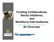 Funding Collaboratives, Sector Initiatives, and Workforce ...