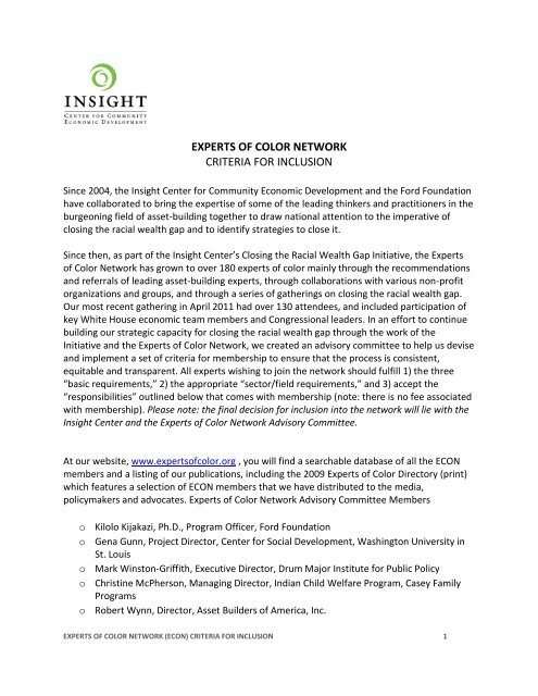 experts of color network criteria for inclusion - Insight Center for ...