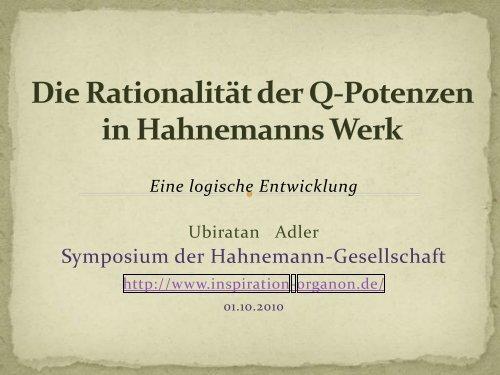 Die Rationalität der Q-Potenzen in Hahnemanns Werk - Inspiration ...