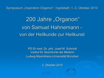 Homöopathie-Vorlesung 07 - Inspiration Organon