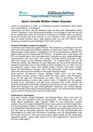 Auch virtuelle Welten haben Grenzen - inspire - ETH Zürich