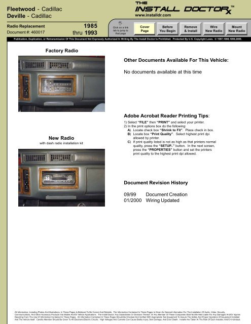 cadillac radio wiring harness 460017 cadillac fleetwood 85 93 radio install the install  460017 cadillac fleetwood 85 93