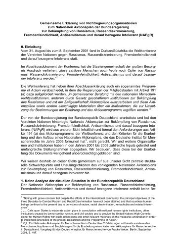 Gemeinsame Erklärung von Nichtregierungsorganisationen zum ...