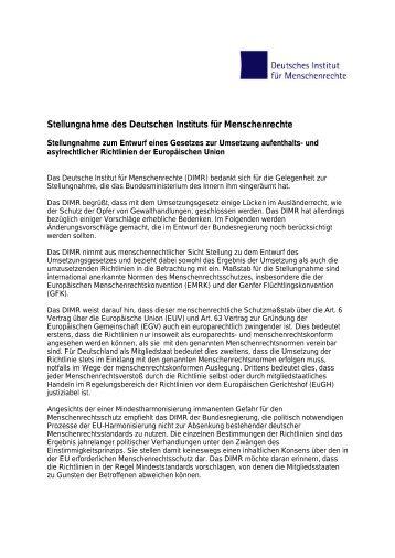 Stellungnahme zum Entwurf eines Gesetzes zur Umsetzung ...