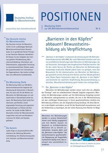 Deutsches Institut für Menschenrechte: Positionen Nr. 8