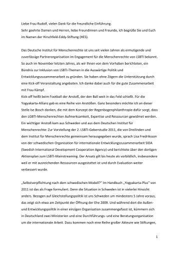 Renate Rampf, Hirschfeld-Eddy-Stiftung: Zielsetzung der ...