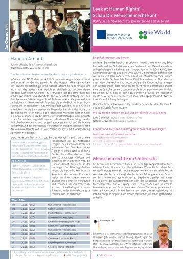 """""""Look at Human Rights"""" finden Sie im Programm (PDF, 208 KB"""