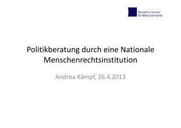 Politikberatung durch eine Nationale Menschenrechtsinstitution
