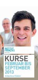 Kursprogramm Frühling/ Sommer 2013 herunterladen - Institut français
