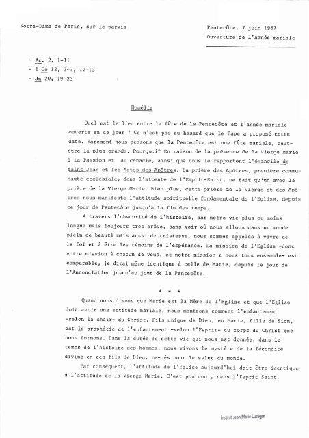 JML 1987 06 07 Homélie Ouverture année mariale NDP