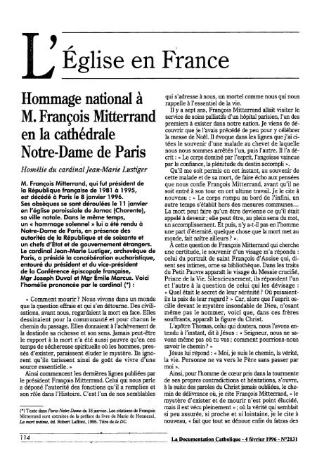 JML 1996 Documentation Catholique Homélie hommage national à ...