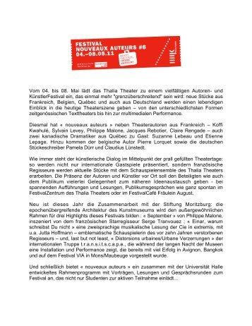 Nouveaux Auteurs 2011 - Institut français