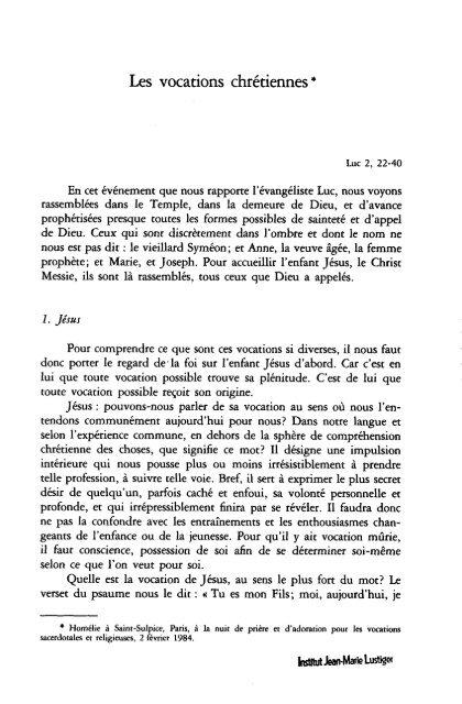 JML 1984 02 02 Homélie Nuit de prière et d'adoration pour les ...