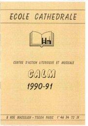 JML 1990 Préface Programme Centre d'Action Liturgique et Musicale