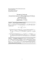 Differentialgeometrie für Kurven und Flächen Teil II Serie 2 vom 9.5 ...