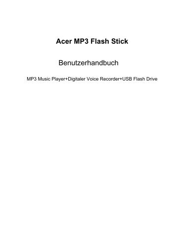 Acer MP3 Flash Stick Benutzerhandbuch - Instructions Manuals