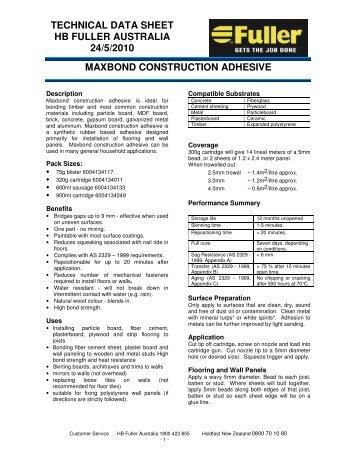 Maxbond datasheet - Insulation Industries