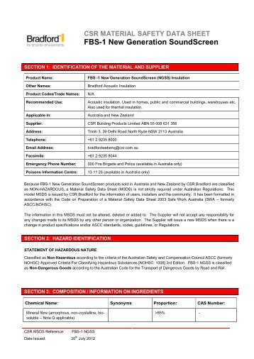 New Generation SoundScreen MSDS 0712 - Insulation Industries