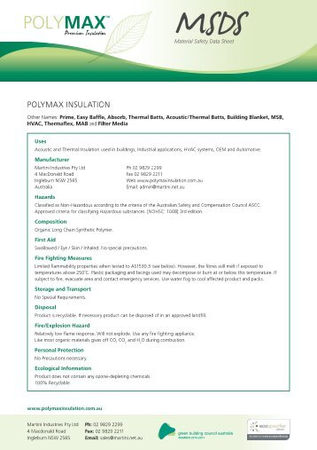MSDS - Insulation Industries
