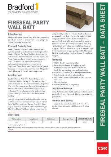 Partywall datasheet - Insulation Industries