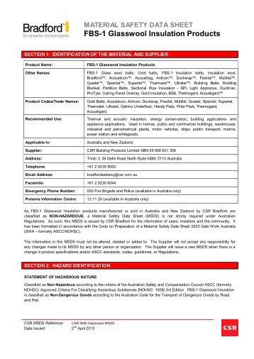 Glasswool MSDS - CSR Bradford