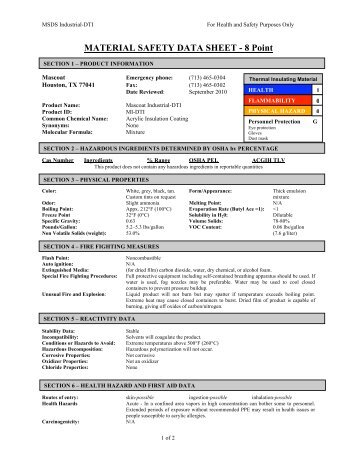 MATERIAL SAFETY DATA SHEET - 8 Point - Mascoat
