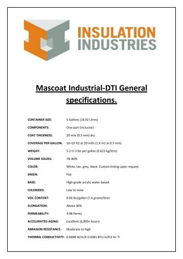 Mascoat Industrial-DTI General specifications. - Insulation Industries