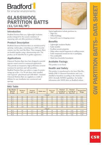 G W PA R TITIO N B ATTS– d ATA Sh eeT - Insulation Industries