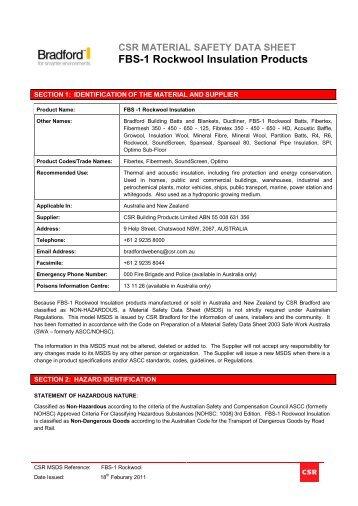 Rockwool MSDS - Austral Insulation