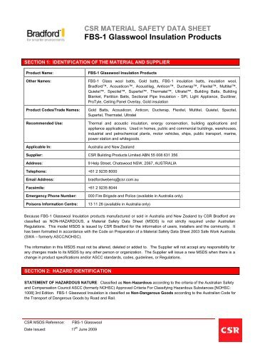 Glasswool MSDS - Insulation Industries