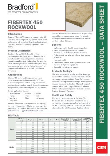 Fibretex 450 0 c Rockwool insulation by CSR Bradford datasheet